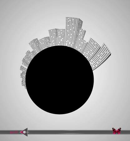 Silhouette of the city and skyscrapers on the circle. Place for inscription. Urban, real estate, agency. 일러스트