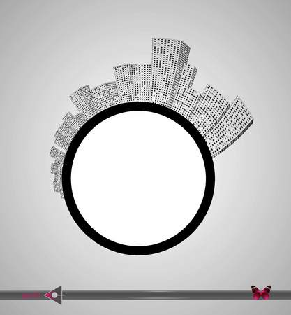 Silhouette of the city and skyscrapers on the circle. Place for inscription. Urban, real estate, agency. Illustration