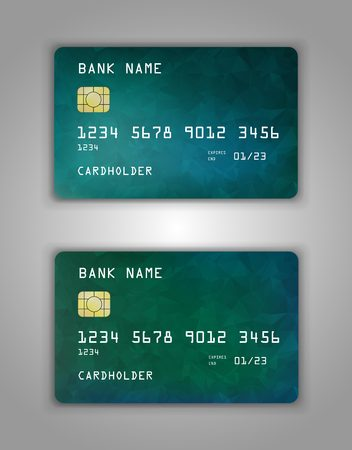 Realistic plastic Bank card vector template. Background color Blue, green, gradient.