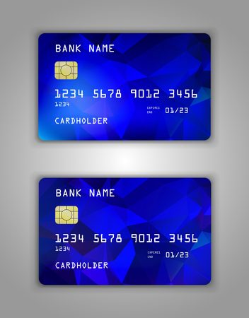 Realistic plastic Bank card vector template. Background color Blue Ilustração