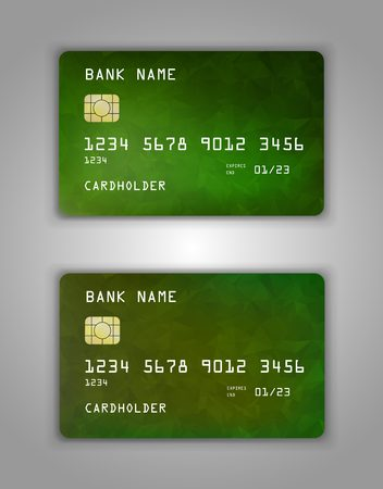 Realistic plastic Bank card vector template. Background color Yellow, green, gradient.