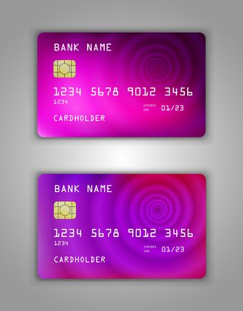 Realistic plastic Bank card vector template. Figure spiral gradient. Background color pink, purple, cosmetics, beauty, perfumes, women, art