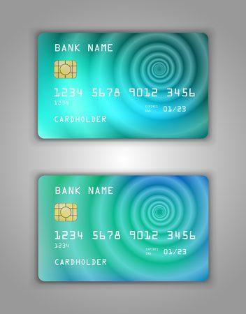 Realistic plastic Bank card vector template. Figure spiral gradient. Background color azure, blue, cyan, water, blue, drop.