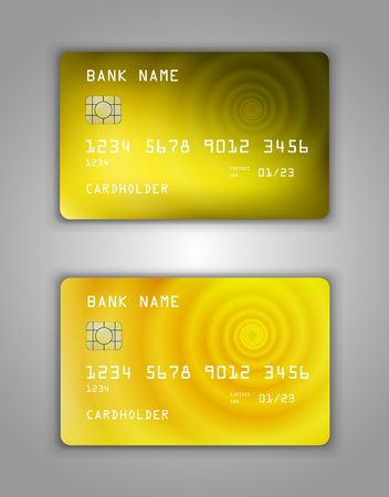 Realistic plastic Bank card vector template. Figure spiral gradient. Background color yellow