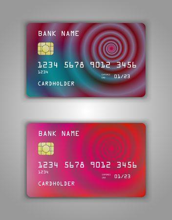 Realistic plastic Bank card vector template. Figure spiral gradient. Background color multicolor, pink, green, bright, beauty, art Ilustração