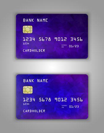 Realistic plastic Bank card vector template. Background color Blue, purple gradient.