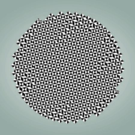 Abstract checkered tile with a distorted drawing in black and white. Background substrate, design element. Round.