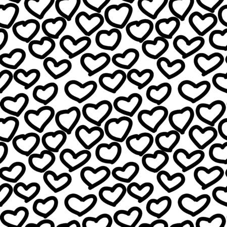 Abstract seamless background from abstract heart,. Vector seamless black and white heart, pattern. Design for print, eps 10 textile