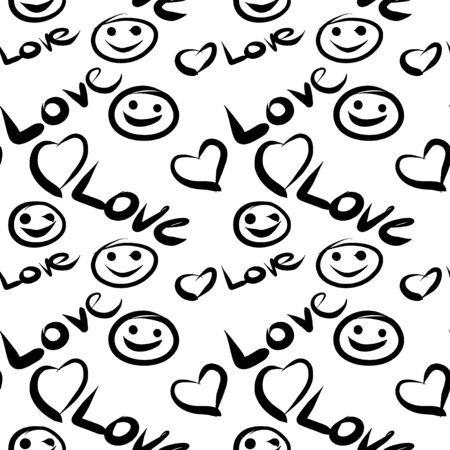 Seamless pattern with symbols of the heart, smiley, inscription love. Background for festive design concept. Doodle, handwritten drawing esp 10.