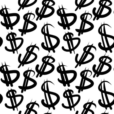 Seamless pattern with currency symbols, dollar. Background for design concept. Doodle esp 10.