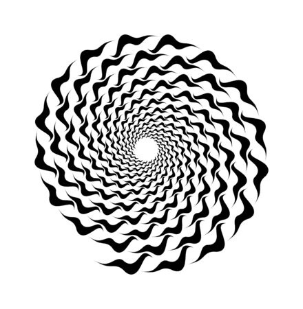 Abstract vector spiral shape on a white background. Isolated waves, ripples spiral, template for design, hypnotic effect. Eps 10.