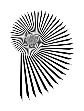 Abstract vector Archimedean spiral, shell symbol shape on a white background. Isolated spiral, template for design, hypnotic effect. Eps 10.
