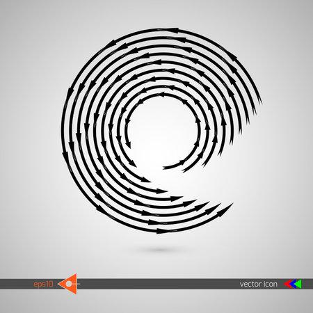 Arrows along circle. Black sign on white background. Vector illustration web internet design element.