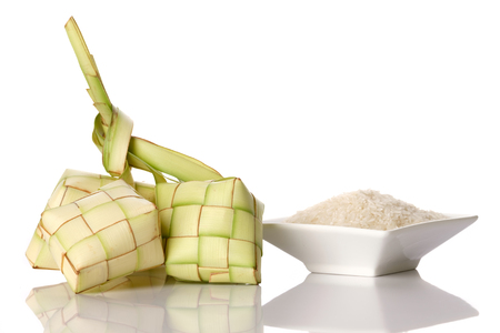 Ketupat (rice dumpling) on white background