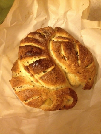 A loaf of Japanese sweet potato bread fresh from the oven.