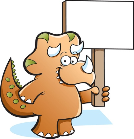 Triceratops Dinosaur Holding a Sign Stock Vector - 13066179