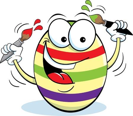 Easter Egg Holding Paintbrushes