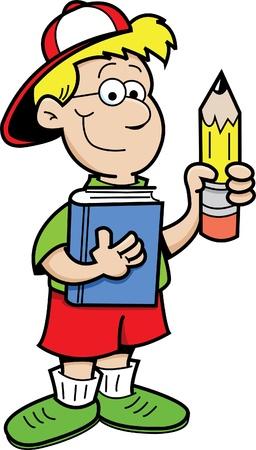 Niños con un libro y un lápiz Foto de archivo - 13221558