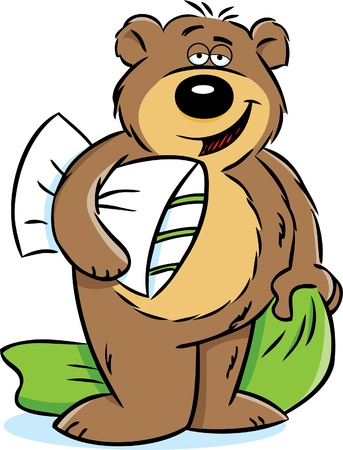 Bear holding a pillow and blanket Vettoriali