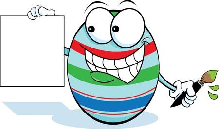 Easter Egg Holding a Sign Çizim