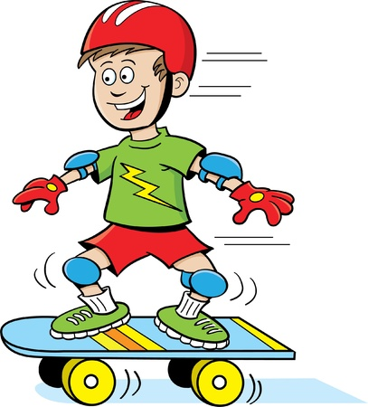 humorous: Boy Riding a Skateboard