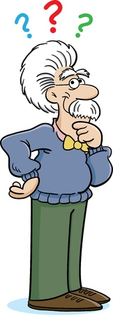 cartoon of an old man thinking
