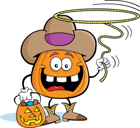 Pumpkin in a Cowboy Costume Vector