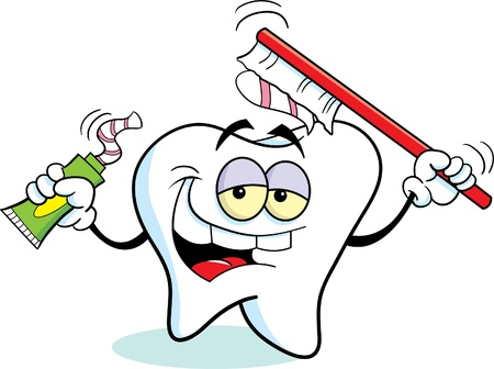 Tooth Using a Toothbrush Vector