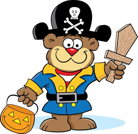 with humor: Bear in Pirate Costume Illustration