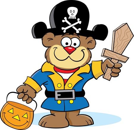 humor: Bear in Pirate Costume Illustration