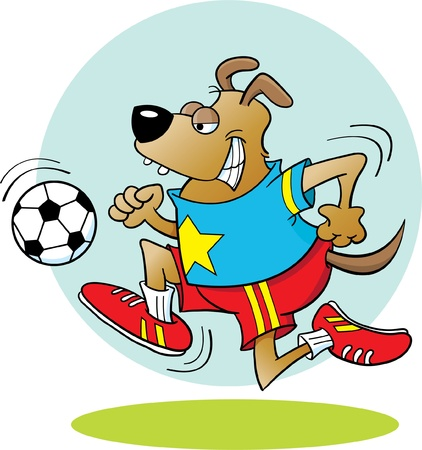 Dog Playing Soccer Vector