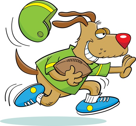 Dog Playing Football Illustration