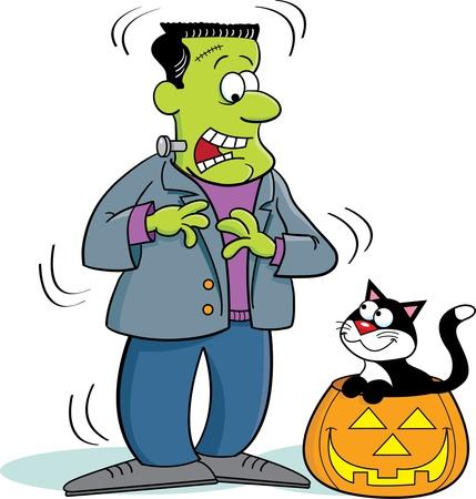 Cartoon Illustration of Frankenstein and a Cat Иллюстрация