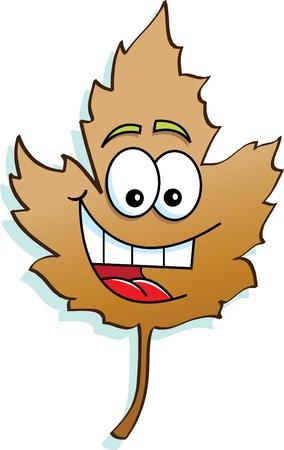 Cartoon Illustration of a Leaf