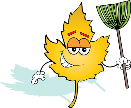 Cartoon Illustration of a Leaf Holding a Rake Illusztráció