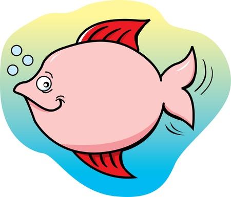 Cartoon Illustration of a Pink Fish