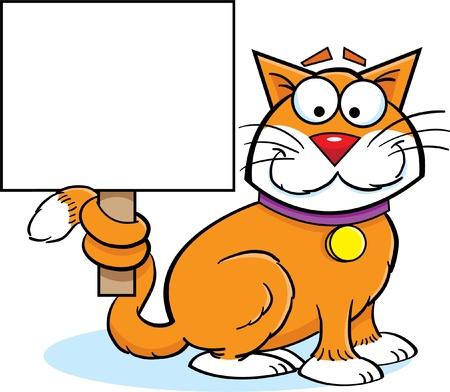 Cartoon Illustration of a Cat Holding Sign