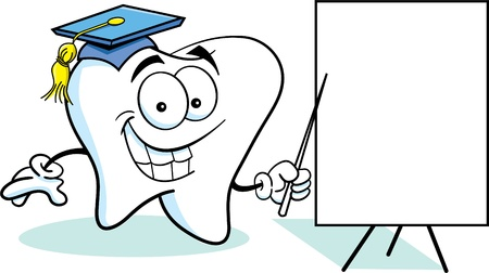 Cartoon illustration of a tooth with a sign Иллюстрация