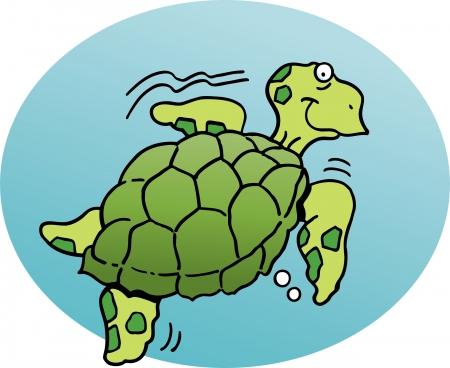 Cartoon illustration of a sea turtle Vector