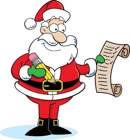 산타 클로스의 만화 그림은 자신의 목록을 확인