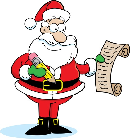christmas list: Cartoon illustration of Santa Claus checking his list
