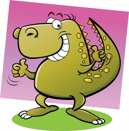 Cartoon illustration of a dinosaur giving thumbs up Ilustrace
