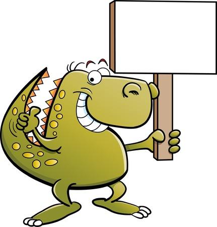 Dinosaur holding a sign