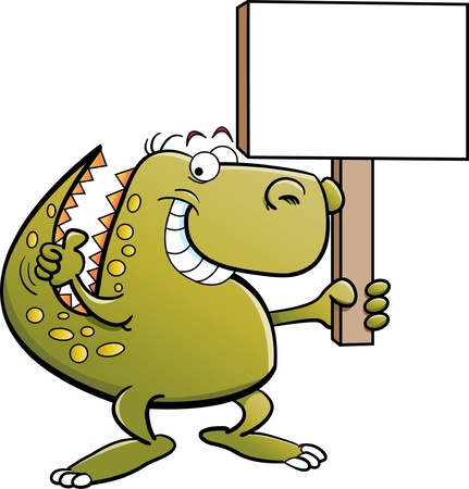 dinosaurio caricatura: Dinosaurio con un cartel