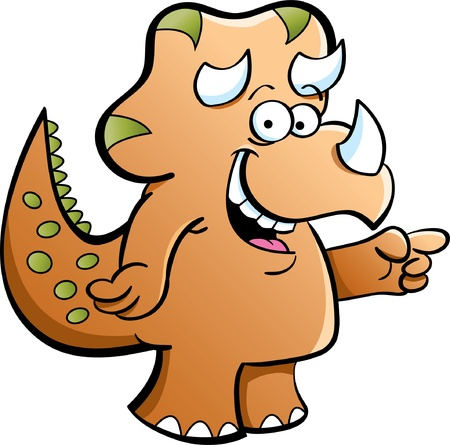 jurassic: Cartoon illustration of a triceratops on a white background Illustration