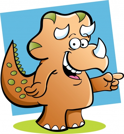 Cartoon illustration of a triceratops pointing