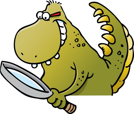 Cartoon illustration of a dinosaur holding a magnifying glass Vector