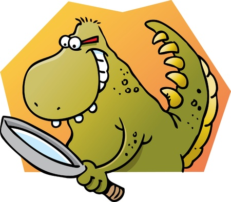 Cartoon illustration of a dinosaur holding a magnifying glass Vector