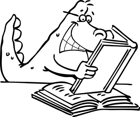 Cartoon illustration of a dinosaur reading a book for a coloring page