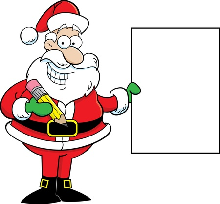 Cartoon illustration of Santa Claus holding a sign